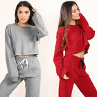 Women Long Sleeve Hooded Crop Top Bodycon Long Trousers Playsuit Club Party