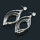 Fashion Women Gold Silver Crystal Hollow Dangle Ear Stud Drop Earrings Jewelry
