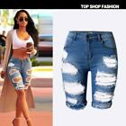 US-Women Elastic Ripped Leggings Short Pants high waist fashion Hole Jeans 2017