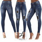 Womens Blue Faded High Waist Ripped Jeans Stretch Biker Denim Skinny Size 6-14