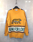 Men's Stripe Blind Love Embroidered Tiger Graphic Knitted Sweater Navy Yellow
