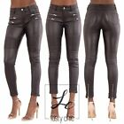 Womens Black Sexy Biker Leather Look  Trousers Ladies Skinny Fit Jeans Size 8-16