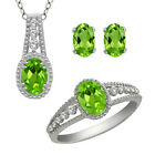 925 Silver Filled Jewelry Set Gemstone Rhinestone Wedding Party Rings Necklace