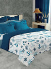 Sea Elements Printed Double Bedsheet Reversible Comforter With Pillow Sham