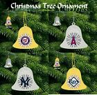 AMERICAN BASEBALL HEAVY WEIGHT GOLD AND SILVER CHRISTMAS HANGING BELL GIFT IDEA