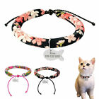 Personalized Soft Floral Cat Dog Collars & Tags Engraved  for Small Puppy Kitten