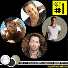 Alex O'Loughlin SET OF 4 BUTTONS or MAGNETS or MIRRORS pins hawaii 5 o 0 #1357