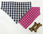 Reversible Pink Spots/Blue Gingham Dog Bandana Various Sizes Dog Collar Bandana