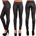Ladies Women Leather Look Wet Look Trousers Slim Fit Jeans Size 6-14