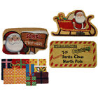 JVL Festive Christmas Santa Shaped Latex Backed Coir Door Mat, 40 x 70 cm