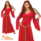 Medieval Ruby Sorceress Costume Ladies Renaissance Game of Thrones Fancy Dress