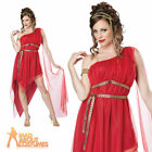 Adult Ruby Goddess Costume Ladies Roman Greek Toga Fancy Dress Outfit Red