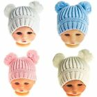 Babys ribbed beanie hat with two pom - poms .Pink blue white  12 - 18 Months