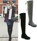 Ladies Womens Over The Knee Thigh High Boots Suede Low Flat Heel Stretch Size