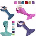Adult Kid Mermaid Tail Knitted Hand Crochet Soft Warm Sleeping Bag Wrap Blanket image