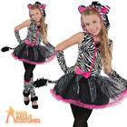 Child Teen Zebra Sassy Stripes Costume Girls Zoo Book Day Fancy Dress Outfit