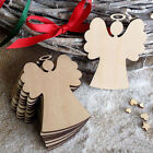 10Pcs Christmas Wood Chip Tree Ornaments Xmas Hanging Pendant Decoration Gifts