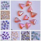 5/10pcs Faceted Skew Heart Glass Crystal Charms Finding Loose Spacer Beads11x6mm