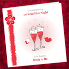 Personalised Handmade Hen Night Card NN002 / Bride Party Do Lips Glasses Red