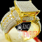 Bridal Engagement Big Square Face Yellow Gold On Silver Ladies Ring Diamond Band