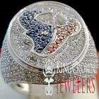 10K Solid White Gold On Real Sterling Silver Mens Texas Ring Diamond Texan Band