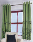 BRAND NEW LIGHT GREEN FLORAL PATTERN UNLINED SILKY RING TOP CURTAINS - RRP £30