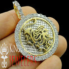 10K Yellow Gold On Silver Zodiac Sign Astrology Symbol Diamond Pendant Charm 2''