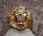 Impressive Large Solid 14K Gold Lion King Ring Genuine Diamonds Heavy 22.5 Grams