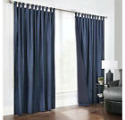 """NEW ROYAL BLUE UNLINED COTTON BROWN BUTTON TAB TOP CURTAINS 66"""" x 54"""" 90"""" x 90"""""""