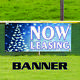 Now Leasing For Rent Office Retail Space Apartment Christmas Vinyl Banner Sign photo