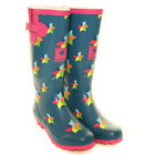 HAWKINS LADIES WINDMILL WELLIES ~ BLUE / PINK WELLINGTON BOOTS ~ SIZE 4 5 6 7 8
