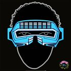 Glowing Blue Robot Visor -  Carnival festival - Sound Activated - With Driver