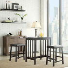 Home Creek Coleman 3-Piece Rubberwood Counter Height Bistro Table and Stool Set
