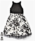 New Sequin Hearts Girls Dress Black & White Sequin Lace Party Sizes 7 8 10 12 14