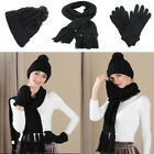 Fashion Women Knitted Winter Thermal Cotton Hat Scarf Gloves Sets Xmas Gift 3pcs