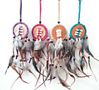 Suede Dream Catcher with Natural Feathers - 6cm Ring Pink, Purple, Blue, Natural