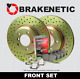 FRONT BRAKENETIC SPORT DRILLED Brake Rotors + POSI QUIET CERAMIC Pads BSK93433