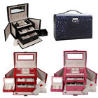 Pu Large Jewellery Box Case Watch Holder Storage Organizer With Lock New