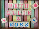 Shabby Chic Personalised Wood Letter Blocks Pink Blue Children Baby Names