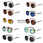 Vintage Style Unisex Cool Mirror Lens Round Glasses Cyber Goggles Sunglasses  TX