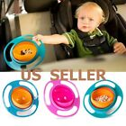 Baby Kids Infant Feeding Dishes Gyro Bowl Universal 360° Rotate Spill Proof Bowl