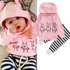 2pcs Newborn Baby Kids Girls Clothes Hooded Tops + Long Pants Outfits Set 0-24 M