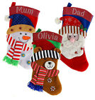 Personalised Crystal Christmas Santa Snowman Reindeer Stocking Xmas Luxury Sack