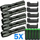 5 X Ultrafire Tactical 15000LM T6 Power LED Zoom Flashlight + 18650&Charger USA