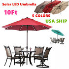 10FT Outdoor Patio Aluminum Umbrella Common/LED lights Option Beach Garden