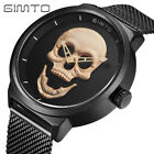 GIMTO Skull Dial Men Watch Japanese Quartz Wristwatch Stainless Steel Mesh Band