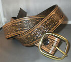 """1 1/2"""" brown antiqued leather belt with hand-embossed Celtic Knots"""