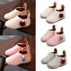Kids Girls Pom Pom Fur Ankle Flat Boots Toddlers Children Zip Party Shoes Size