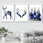 SET of 3 NAVY BLUE GEOMETRIC Stag Deer Forest Wall Art Picture Print Poster