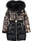 Lisa-Rella Girls' Quilted Down Coat with Real Fur Trim Leopard Print, Sizes 6-16